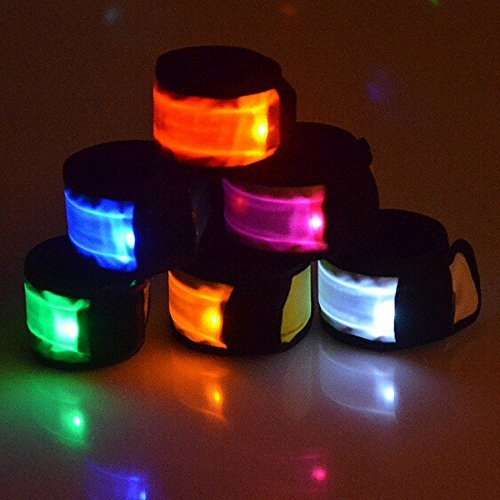 Esonstyle Pack of 6 LED Light Up Band Slap Bracelets Night Safety Wrist Band for Cycling Walking Running Concert Camping Outdoor Sports