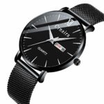 Mens Watch Deep Blue/Black Watch/Ultra Thin Wrist Watches for Men/Fashion Watch/Waterproof Dress Stainless Steel Band