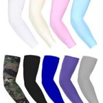 Bememo 9 Pairs Unisex UV Protection Sleeves Long Arm Sleeves Cooling Sleeves Ice Silk Arm Cover Sleeves