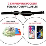 Sport2People Running Pouch Belt, USA Patented, Runner Waist Pack iPhone X 6 7 8 for Men and Women (black, one size, 2 pockets)
