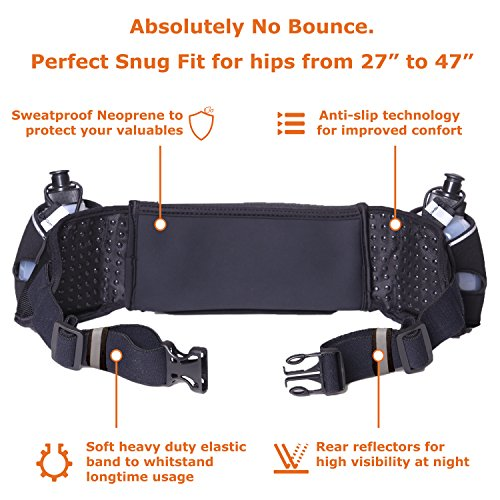 Runtasty [Voted #1 Hydration Belt] Winners' Running Fuel Belt; Includes Accessories – 2 BPA Free Water Bottles & Runners Ebook; Fits Any iPhone; w/Touchscreen Cover; No Bounce Fit; 100% Guarantee!