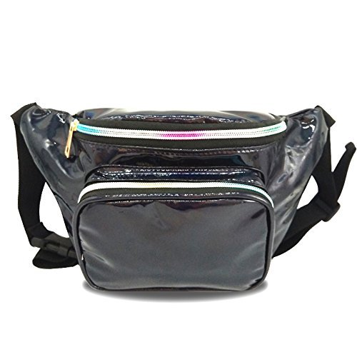 JIGSEAME Women Fanny Pack Holographic Waist Pack Festival Bum Bag-Fanny Pack with Adjustable Belt for Travel,Cycling,and Leisure