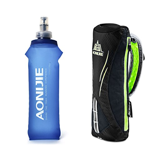 Geila Grip Handheld Bottle Hydration Pack with 500ML BPA Sport Soft Flask