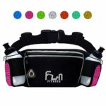Hydration Running Belt with Water Bottles 6oz – Waist Bag for Jogging, Hiking, Biking – Fitness Fanny Pack for Outdoors and Sports, with iPhone Samsung Holder Waterproof Pocket