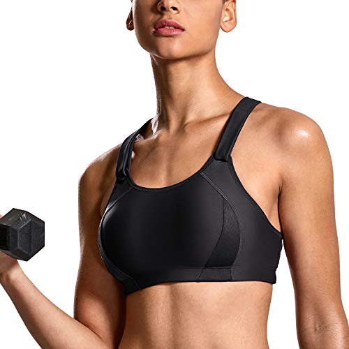 SYROKAN Women's High Impact Front Adjustable Lightly Padded Racerback Sports Bra