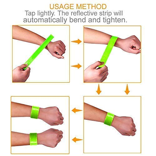 4 pcs Reflective Bands for Wrist, Arm, Ankle, Leg. High Visibility Reflective Gear for Night Walking, Cycling and Running. Safety Reflector Tape Straps. Very Large Reflective Surface Area