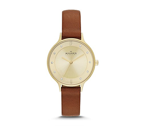 Skagen Women's Anita Watch In Saddle Leather With Goldtone Case