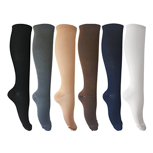 6 Pairs of Compression Socks for Men and Women for Running, Nurses, Shin Splints, Travel, Flight, Pregnancy & Maternity