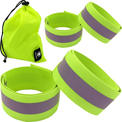 Reflective Bands for Wrist, Arm, Ankle, Leg. High Visibility Reflective Running Gear for Men and Women for Night Running Cycling Walking Bicycle. Safety Reflector Tape Straps. Bike Pants Cuff, Clip.