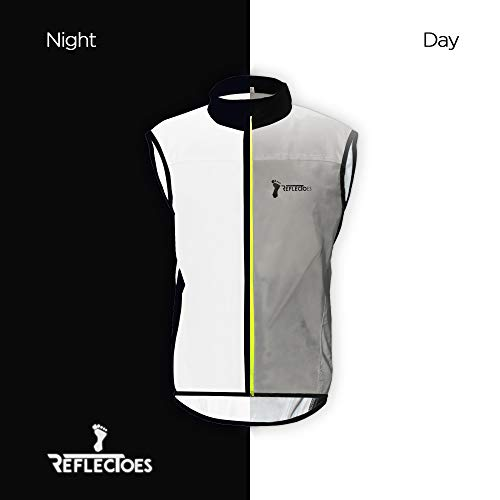 ReflecToes Reflective Windbreaker Vest for Running and Cycling. Lightweight and Durable Mens Jacket Designed with Intelligent Stretch Fabric and BioMotion Technology for Maximum Visibility