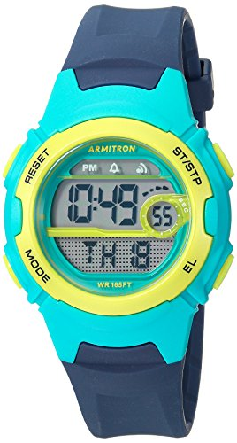 Armitron Sport Women's 45/7088NVY Teal and Lime Green Accented Digital Chronograph Navy Blue Resin Strap Watch
