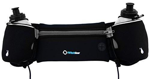 FitTech Gear Hydration Belts for Runners | Super 2 BPA Free 10oz Water Bottles | Free Jump Rope | Free Reflective Band | No Bounce When You Run | Great for Ladies | Runner Tested and Approved