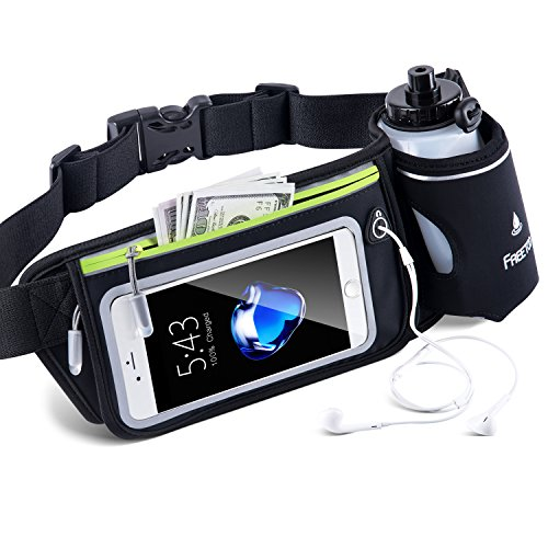 "FREETOO Hydration Belt with 10oz BPA-Free Bottles Leak-Proof, Adjustable Running Fuel Belt, W/Touchscreen Zipper Pockets Water Resistant Bounce Free, Fits iPhone 6-8Plus &5.5"" Smartphones"