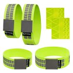 EvoLike Premium Reflective Wristbands/Belt / Armbands/Ankle Bands (4 Pack / 2 Pairs + 60 pcs Free Reflection Stickers Included)