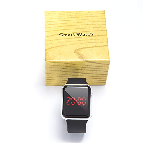 yixuantech Digital Smart Watch for Men Women and Kids with LED Screen Luminous Large Face for Sports in Black Silicone Band Fashionable Design