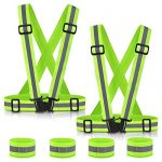 SAWNZC Reflective Vest Running Gear 2Pack, Adjustable Safety Vest Outdoor Reflective Belt High Visibility with 4 Reflective Wristbands Straps for Night Cycling Motorcycle Dog Walking