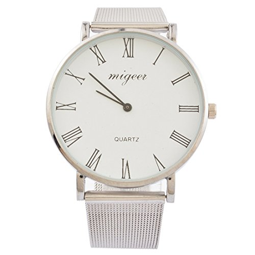 Loweryeah Women Rome Number Scale Dial Wrist Quartz Analog Watch with Silver Color Steel Mesh Band 23cm