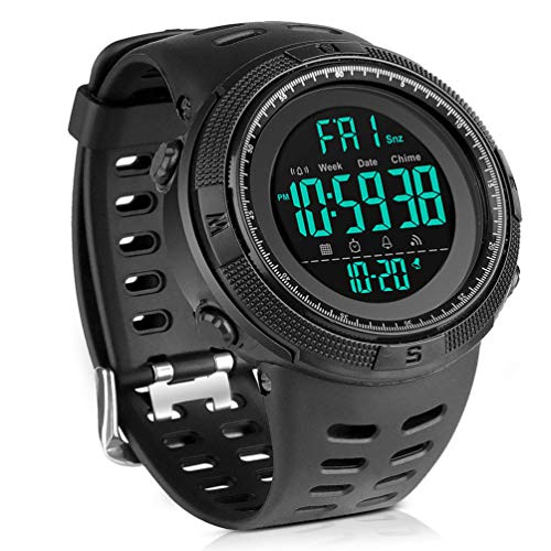 Men's Digital Sport Watch Led Military 50M Waterproof Electronic Wrist Watch with Alarm Stopwatch Dual Time Zone Count Down EL Backlight Calendar Date for Men -All Black