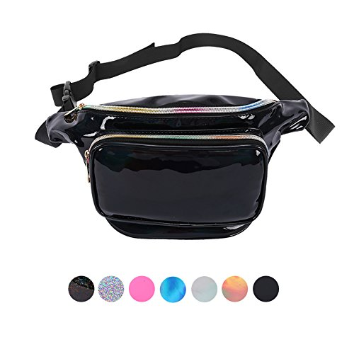 Holyami Fashion Holographic Fanny Pack for Women Men-Waterproof Travel Waist Packs Bum Purse Bags for Rave, Festival,Hiking
